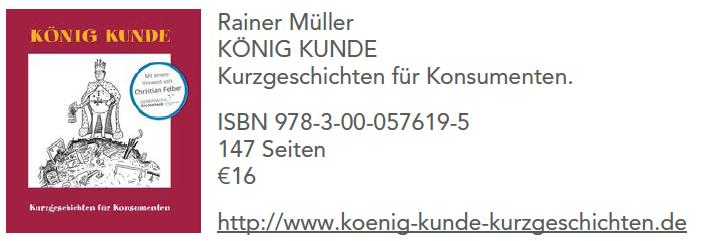 """Titelseite des Buchs """"König Kunde - Kurzgeschichten für Konsumenten"""" von Rainer Müller"""