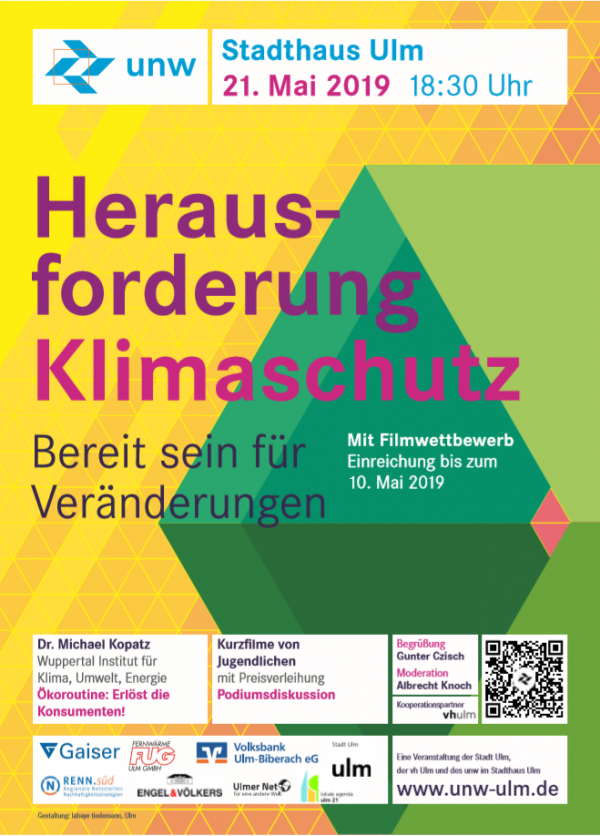 unw-Stadthausveranstaltung am 21.05.2019: Herausforderung Klimaschutz ‒ Bereit sein für Veränderung