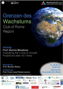 Plakat Grenzen des Wachstums - Club of Rome Report - Prof. Dennis Meadows