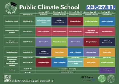 Poster mit Stundenplan der PCS 23.-27.11.